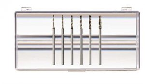Diamond Plated Step Drills, 14 head sizes from .7 mm – 2.1 mm or 6-pc Assortment