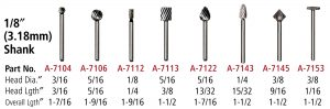 High Speed Steel Cutters 1/8″ shank